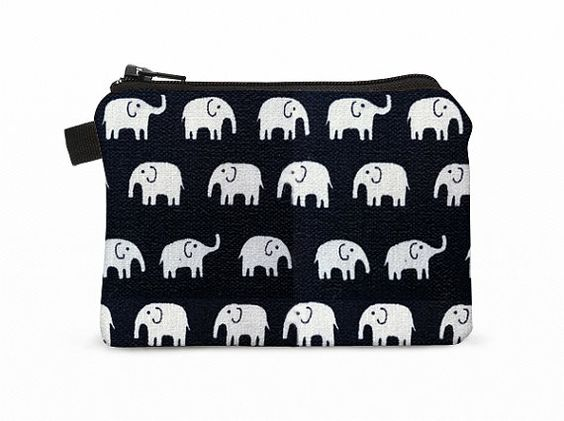 Coin purse, small zip pouch, small makeup bag, padded little change purse -  white elephants in black