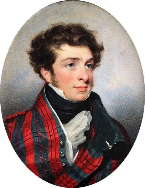 Portrait of a Gentleman dressed in tartan coat with dark green velvet collar, white waistcoat and black stock c. 1830 by Andrew Robertson, (Scottish 1777 - 1845) - In gilt-metal locket