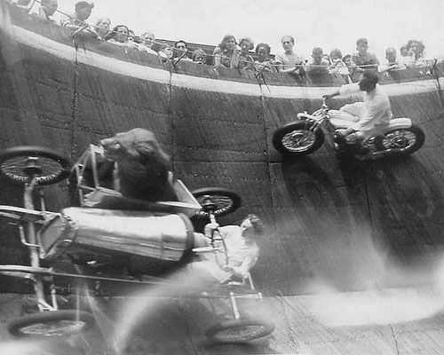 Motorcycle and Car with Sidecar and Lion Racing on a Wall of Death!