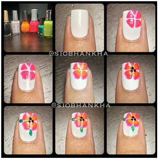Flower nail art, Flower nails and Nail art tutorials on ...