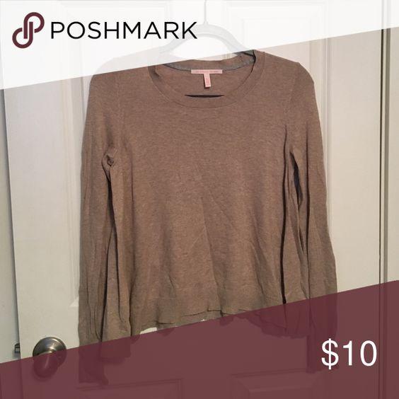 Tan long sleeve sweater Tan long sleeve sweater with crop neck PINK Victoria's Secret Sweaters Crew & Scoop Necks