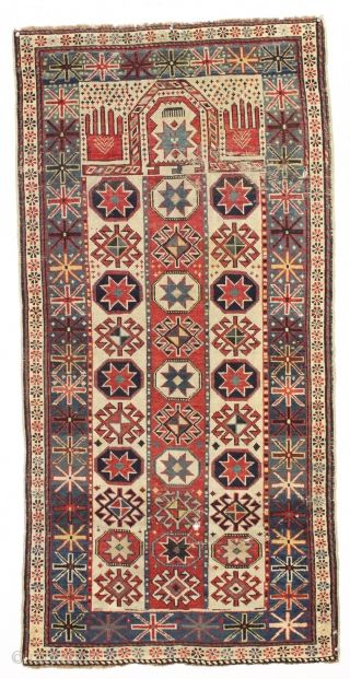 antique caucasian prayer rug with an unusual and interesting design. Eye…