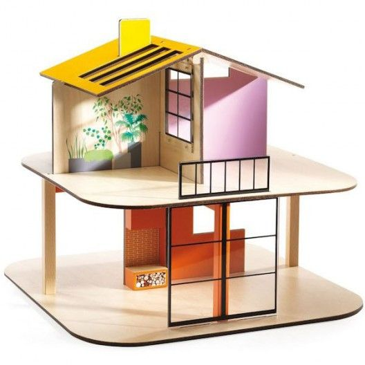 djeco modern doll house pitched roof colour house wooden dollhouse sold alone vintage modern dollhouse furniture 1200 etsy