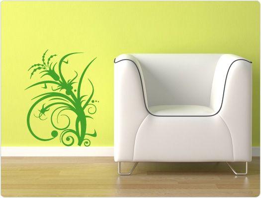 Wanddeko mit wandtattoo blumen und pflanzen f r moderne for Wanddeko pflanzen