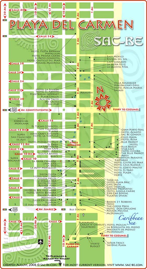 Playa del Carmen map   Cancun   Pinterest   Carmen electra ...