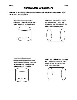 Surface Area of Cylinders Word Problems (TPT-free) | Geometry (7th ...