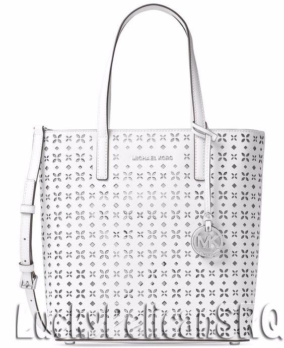 Michael Kors Hayley Medium N/S Bag in Bag Tote Top Zip Saffiano White NWT