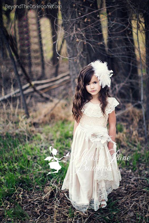 Elegant Lace Flower Girl Dress - Wedding Ideas - Pinterest - Satin ...