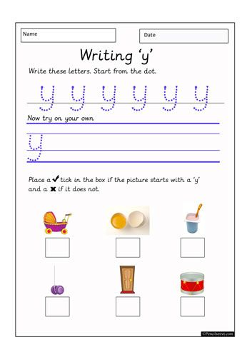 Worksheet Resource = 10-1117 Practice writing the letter (y ...