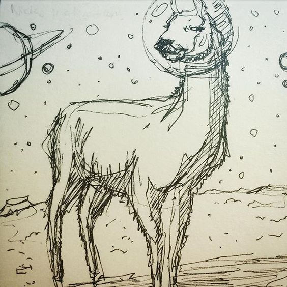 regram @snickreyes Drawing #lamas in space. #sketch