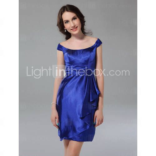 Sheath/ Column Off-the-shoulder Short/ Mini Elastic Woven Satin Bridesmaid Dress