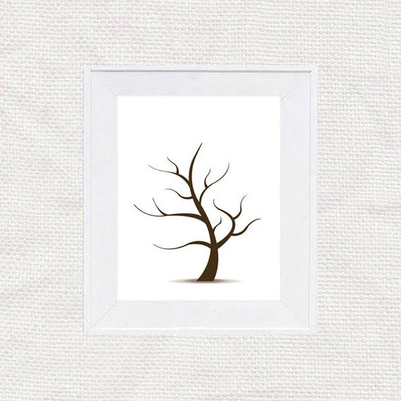 DIY fingerprint tree guest book template - instant download PDF - guest book template