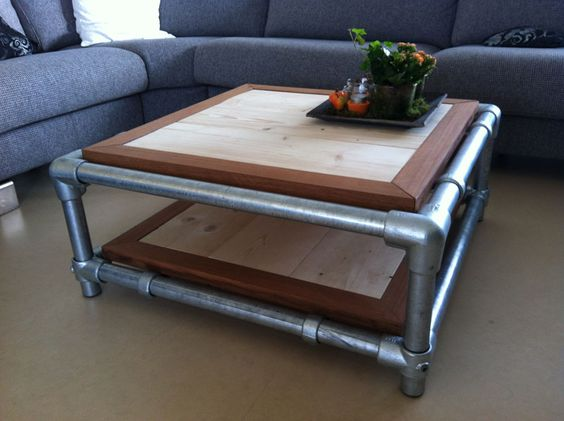Two level coffee table made with kee klamp fittings http