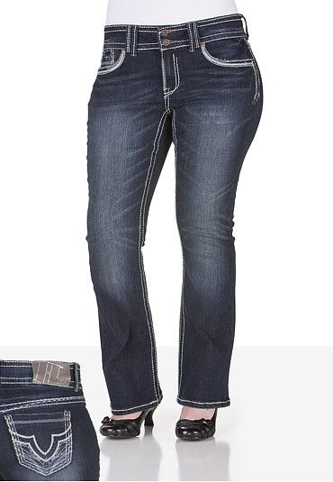 Trademark H Iconic Slim Bootcut Dark Jeans - Plus Size | My Style ...