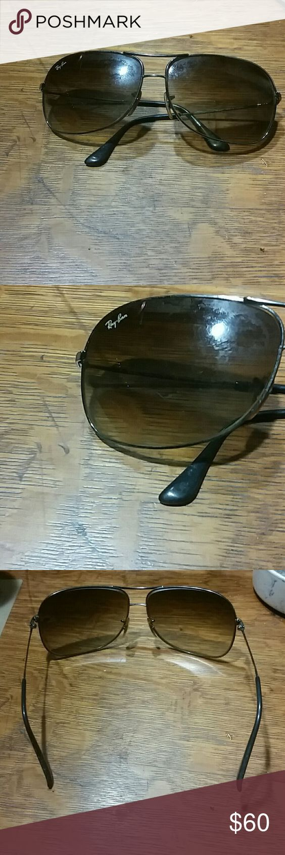 Ray Ban Aviator Sunglasses These are in pretty good condition still for them being 4 yrs old. Minimal scratches on the lenses. The only thing that is wrong with them is the arms are a little crooked as shown in pictures. I'm sure they can be straightened out. Ray-Ban Accessories Glasses
