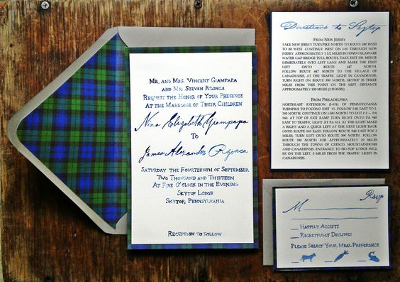 wedding invites - but obviously in your colors - with just a wee bit of plaid (love the plaid envelope liner!)