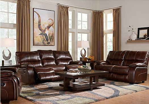 Shop for a cindy crawford home gianna brown leather 3 pc for Find living room furniture