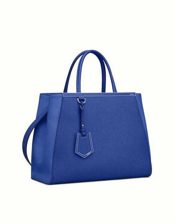 FENDI   REGULAR 2JOURS shopping bag in neon blue leather