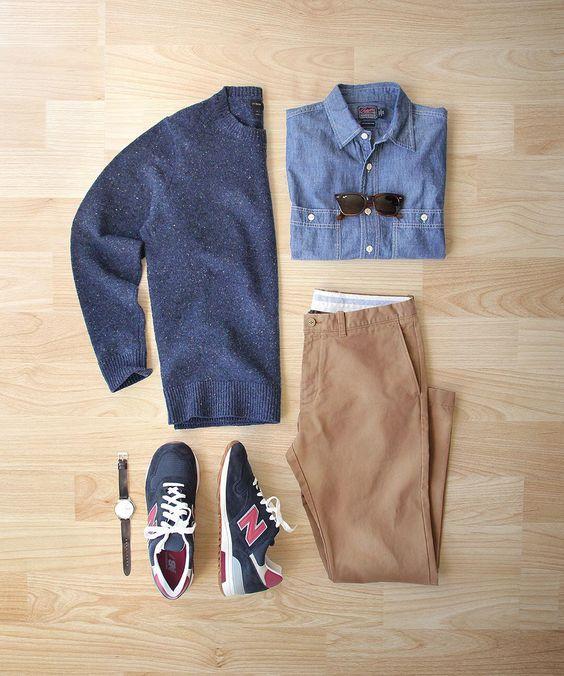 A new year a new balance.  Shoes: @newbalance 1400 Made in USA  Sweater/Chinos: @jcrew  Chambray Shirt: @grayers  Watch: @uniformwares C40  Glasses: @rayban by thepacman82