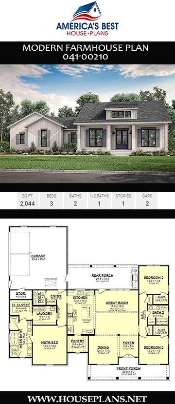 House Plan 041 00210 Modern Farmhouse Plan 2 044 Square Feet 3 Bedrooms 2 5 Bathrooms Modern Farmhouse Plans Farmhouse Plans Farmhouse Floor Plans