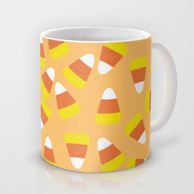 Candy Corn Jumble (light orange background) Mug by Lisa Argyropoulos - $15.00