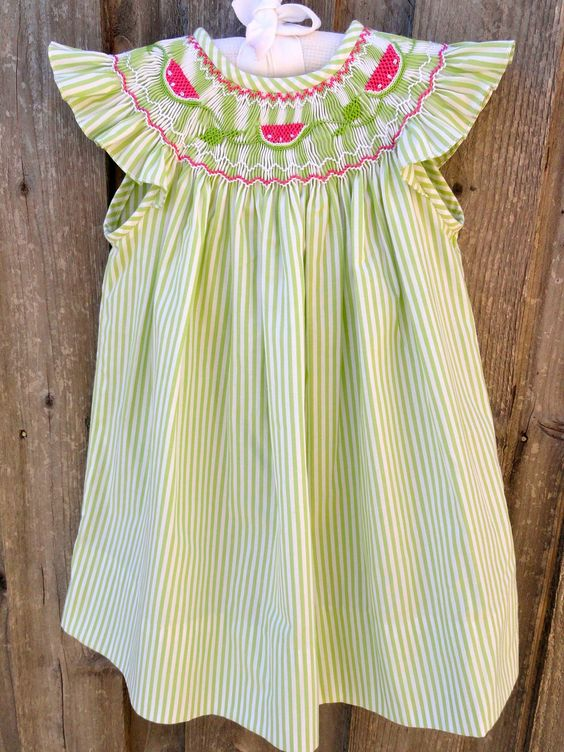 Got this for Grace--isn't it ridiculously cute? Green Stripe Smocked Watermelon Dress