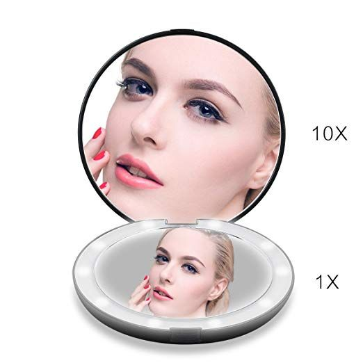 Lighted Travel Makeup Mirror 1x 10x Magnifying Mirror Handheld