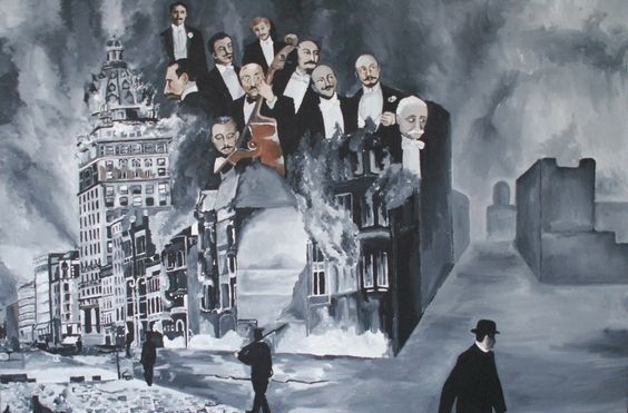 Painting by a friend, Fleur Spolidor. The orchestra in SF playing after the earthquake of 1906.