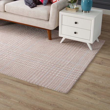 Modway Kaja Abstract Plaid 5x8 Area Rug In Ivory Cameo Rose And Light Blue In 2020 8x10 Area Rugs Area Rugs Rugs