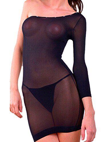 Damen Sexy Dessous Transparenter Spitze Bodystocking (Schwarz)