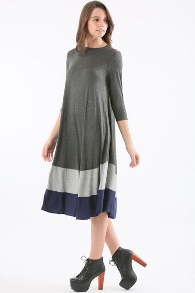 Color Block Swing Dress