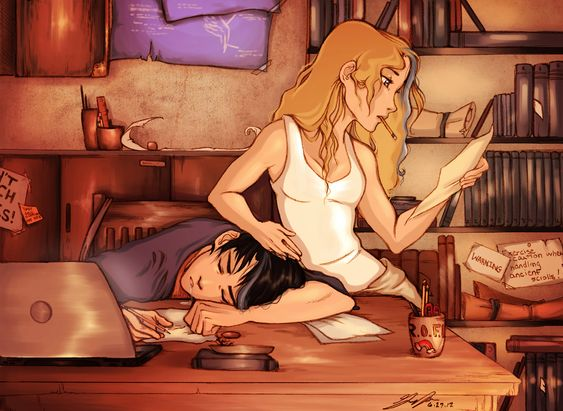 Percabeth I LOVE it when people remember the gray streaks from when they both held the sky :D <<<< yes, but they don't have them anymore <<<< still beautiful