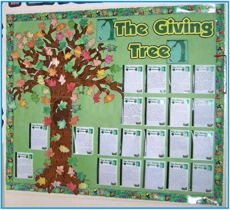 The giving tree bulletin board - want to include a worksheet that has students identify who is giving to them and who they can give to.