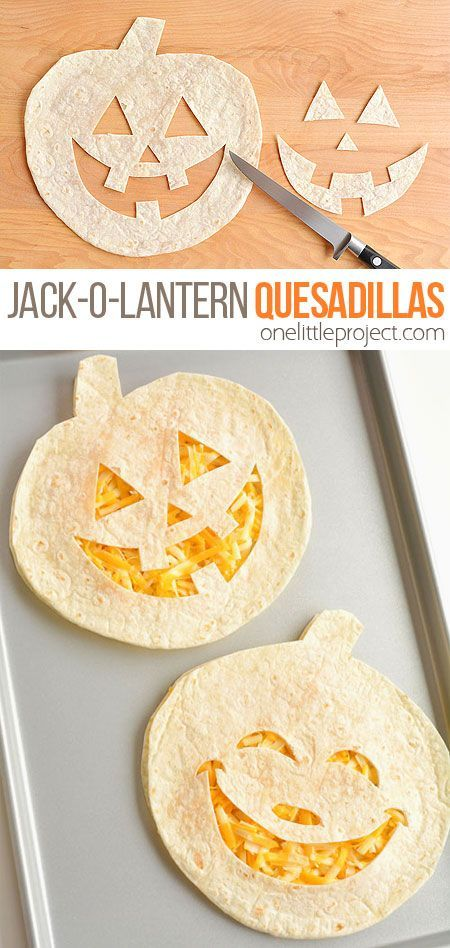 Easy Jack-o-lantern Cheese Quesadillas
