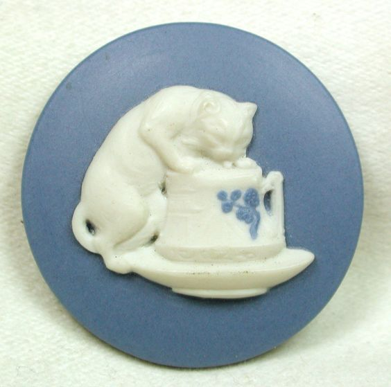 Jasperware Porcelain Button (Realistic Cat Drinking from a Creamer Vintage Button, Back Marked Antique Button):