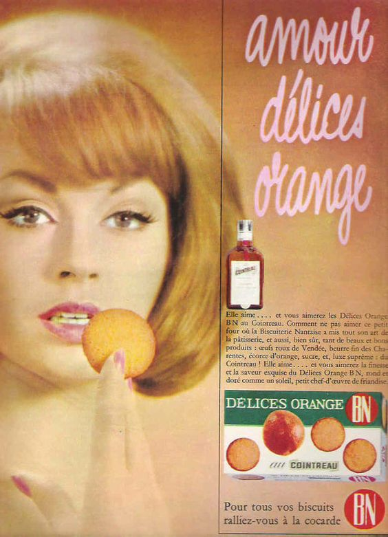 Stunning vintage and so very Mad Men early 1960s French advertisement for Délices Orange BN Cointreau biscuits. Sounds yummmmy. Fabulous