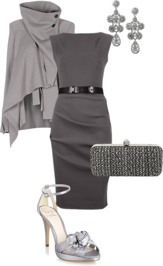 Classic gray pencil dress ...