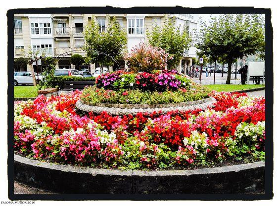 Plaza con flores  en Zumaya. Flowers in Zumaia.