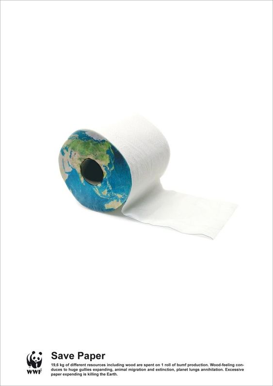 awesome Simple, yet stunning WWF poster raising awareness about paper consumption and th...
