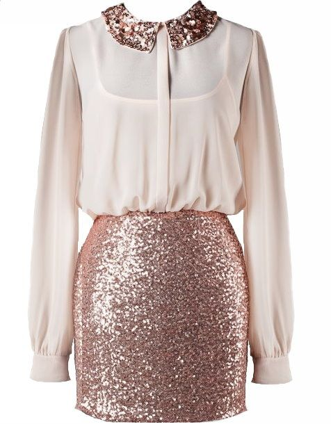 Sparkle Rose Gold Sequin Top | Rose gold, Fall dresses and Church ...