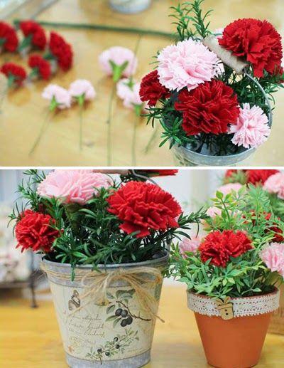 Haz arreglos florales con claveles de tela ~ Solountip.com