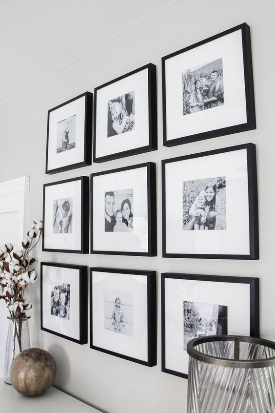 Master Bedroom Black & White Gallery Wall | Darling Do, grid wall gallery in family room decor, neutral home decor ideas with black adn white photography, wall gallery in dining room design
