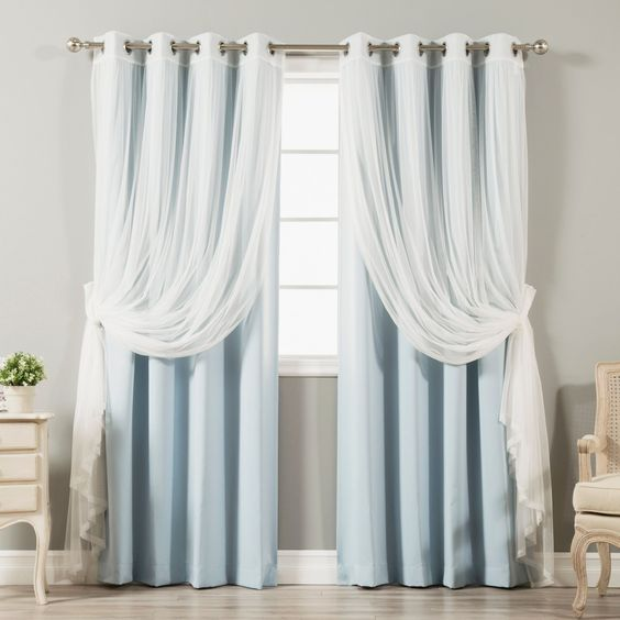 Aurora Home MIX & Match Curtains Blackout and Tulle Lace Sheer Silver Grommet 4-piece Curtain Panel Pair (