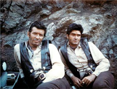 """The late Peter Breck and his stuntman/double Chuck Bail take a break while filming """"Big Valley"""". (Thanx to Chuck Bail.)"""