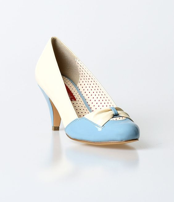 B.A.I.T. Dusty Blue &amp Cream Patent Hanalee Kitten Heels | Flawless