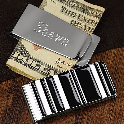 Black and Silver Money Clip for groomsmen