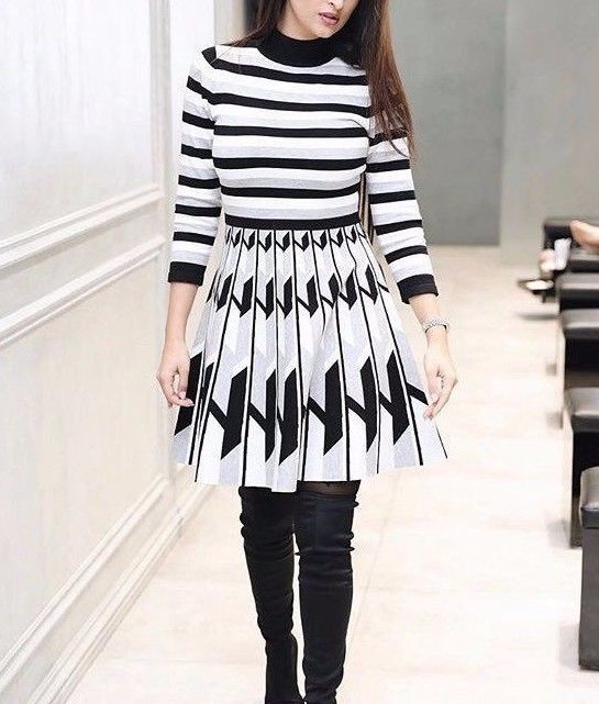 NEW WOMENS BLACK GREY STRIPY KNITTED SKATER DRESS FIT AND FLARE DRESS 8 10