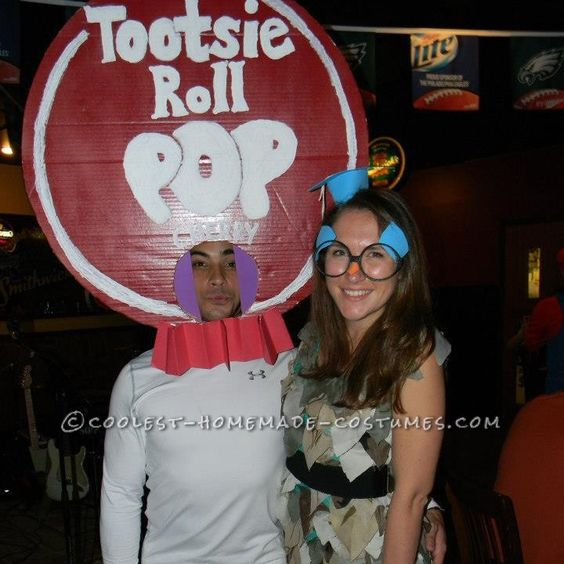 Cool Homemade Couple Costume Idea: Tootsie Roll Pop and Ms. Owl... This website is the Pinterest of costumes