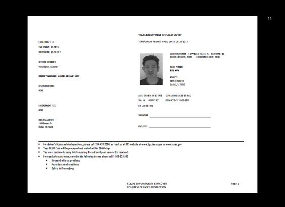 Texas Temp DriverS Permit Template Printable Temporary Custom