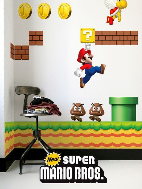 NEW Super Mario Bros Stickers muraux géants Nintendo Super mario